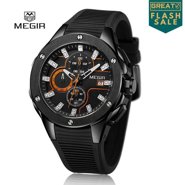 [FLASH SALE] MEGIR MN2053G Jam Tangan Pria Sport Watch Chronograph Tali Silikon Kuarsa Jam