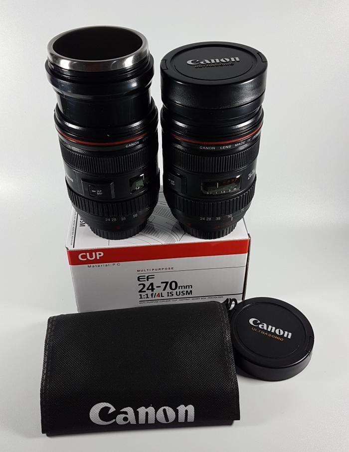 Sedang Diskon!! Gelas Botol Mug Canon Lens Lensa 24-70Mm 420 Ml Stainless Zoomable - ready stock