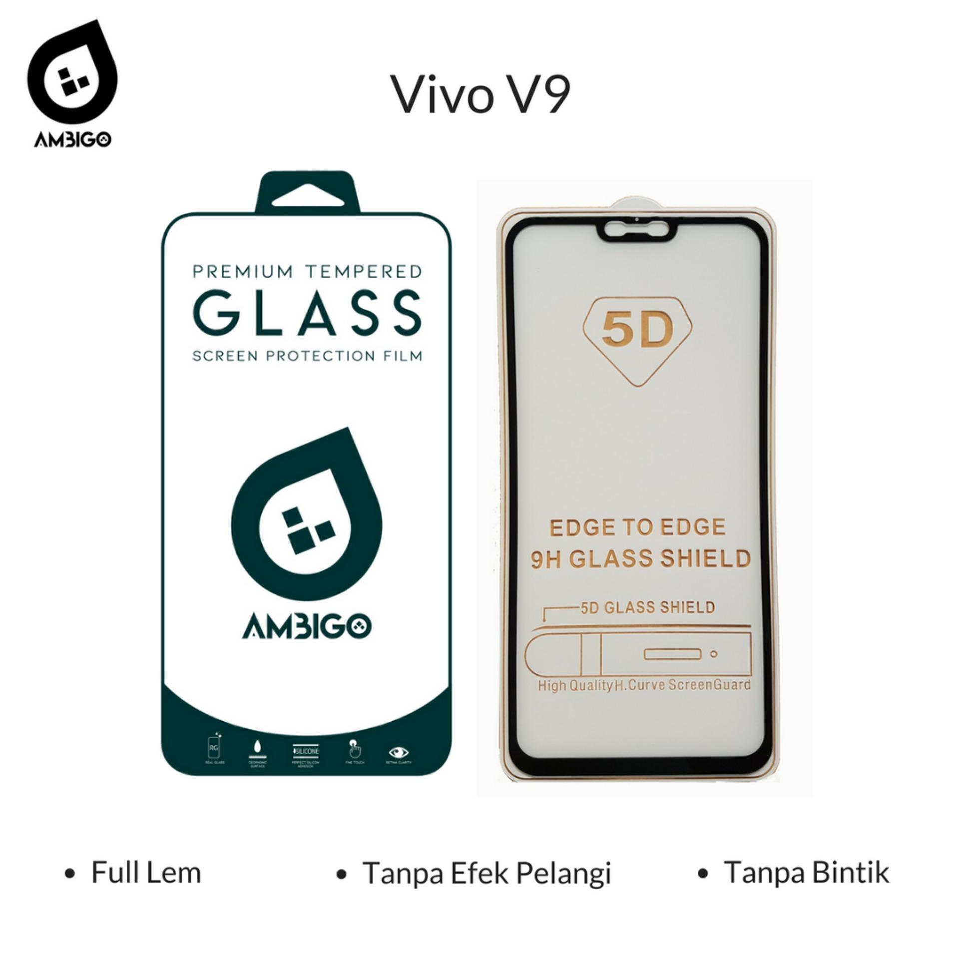 Ambigo 5D Tempered Glass Screen Protector Vivo V9 Full Cover Glue - Black