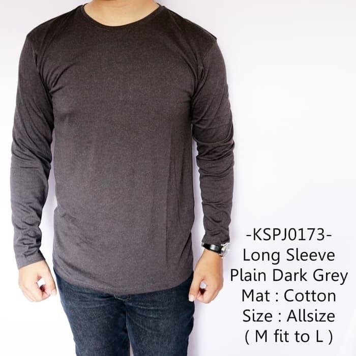 Avocado - Baju Lengan Panjang Pria Distro Long Sleeve Plain Dark Grey Murah