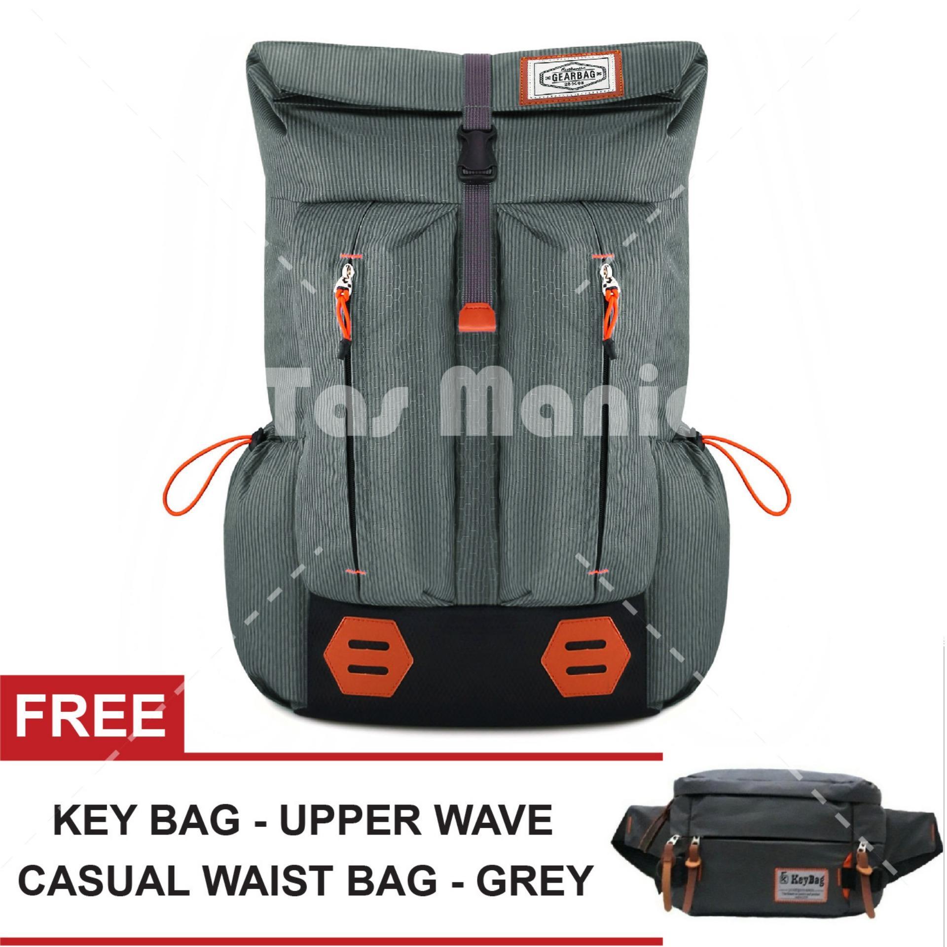 Tas Ransel Gear Bag Mount Everest - Adventure Tas Laptop Backpack - GREY JB + FREE Key Bag Upper Wave Casual Waist Bag Random Color Tas Pria Tas Gunung Tas Messenger Tas Slempang Tas Fashion Pria