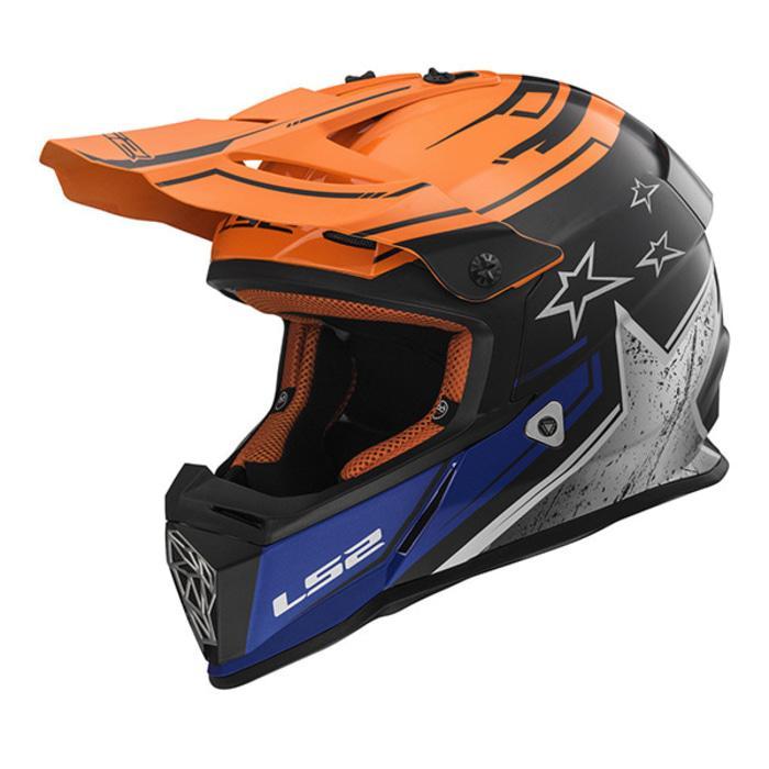 Helm LS2 MX437 Fast Core Matt Black Gloss Orange
