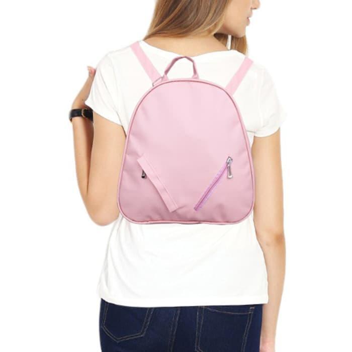 Jual Tas Punggung Cewek Backpack Wanita Polos Pink Double