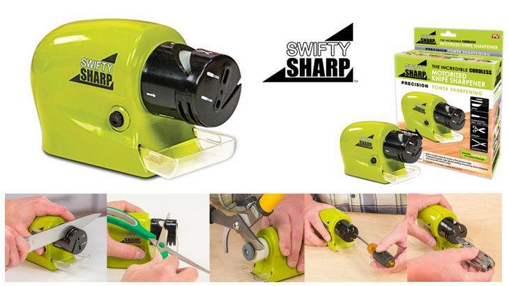 Swifty Sharp / Alat Pengasah Pisau Elektrik Otomatis / Asah Pisau