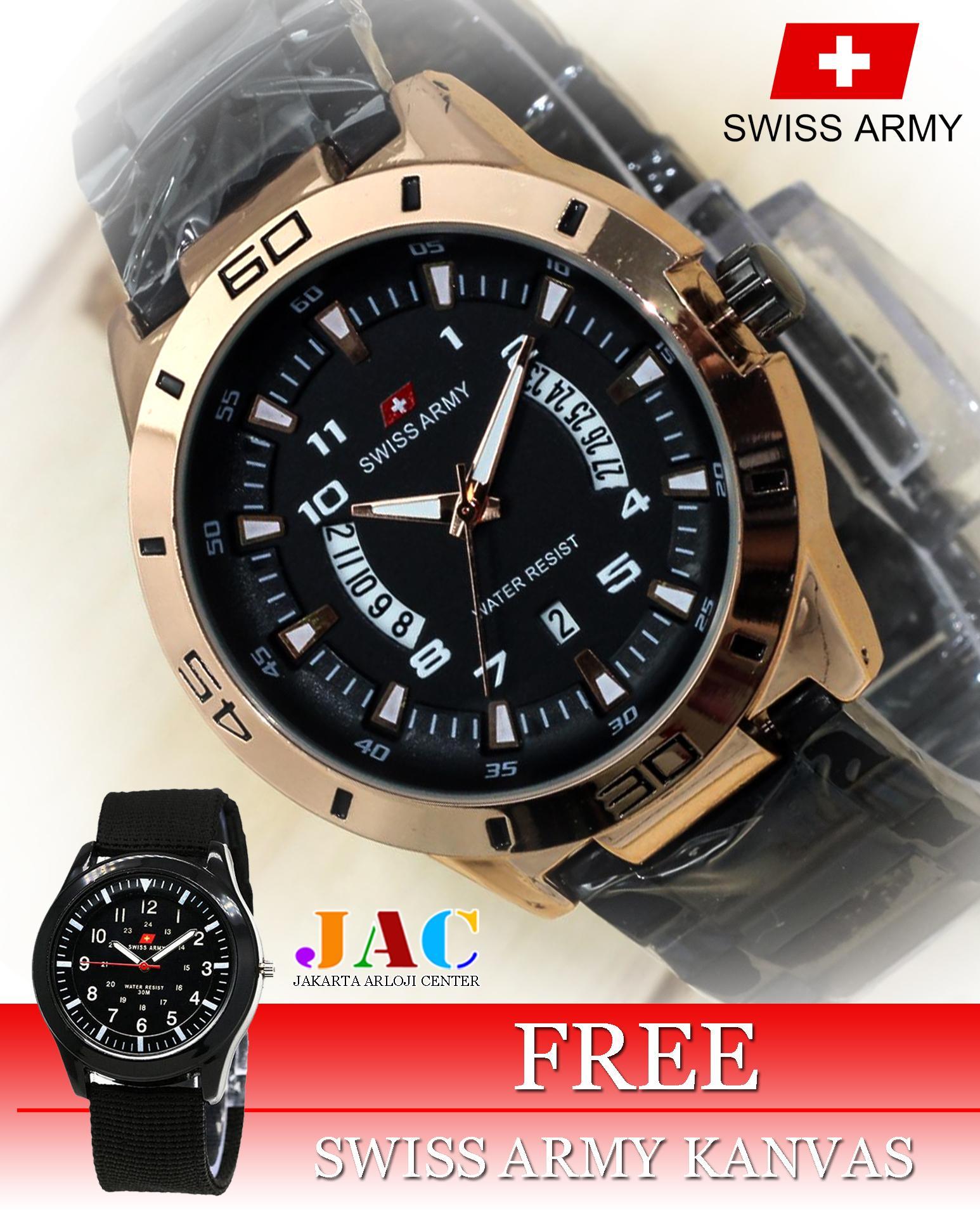 Jam Tangan Swiss Army Pria - Original - Stainless Steel - Tanggal Dan Hari  Aktif - 358f416b42