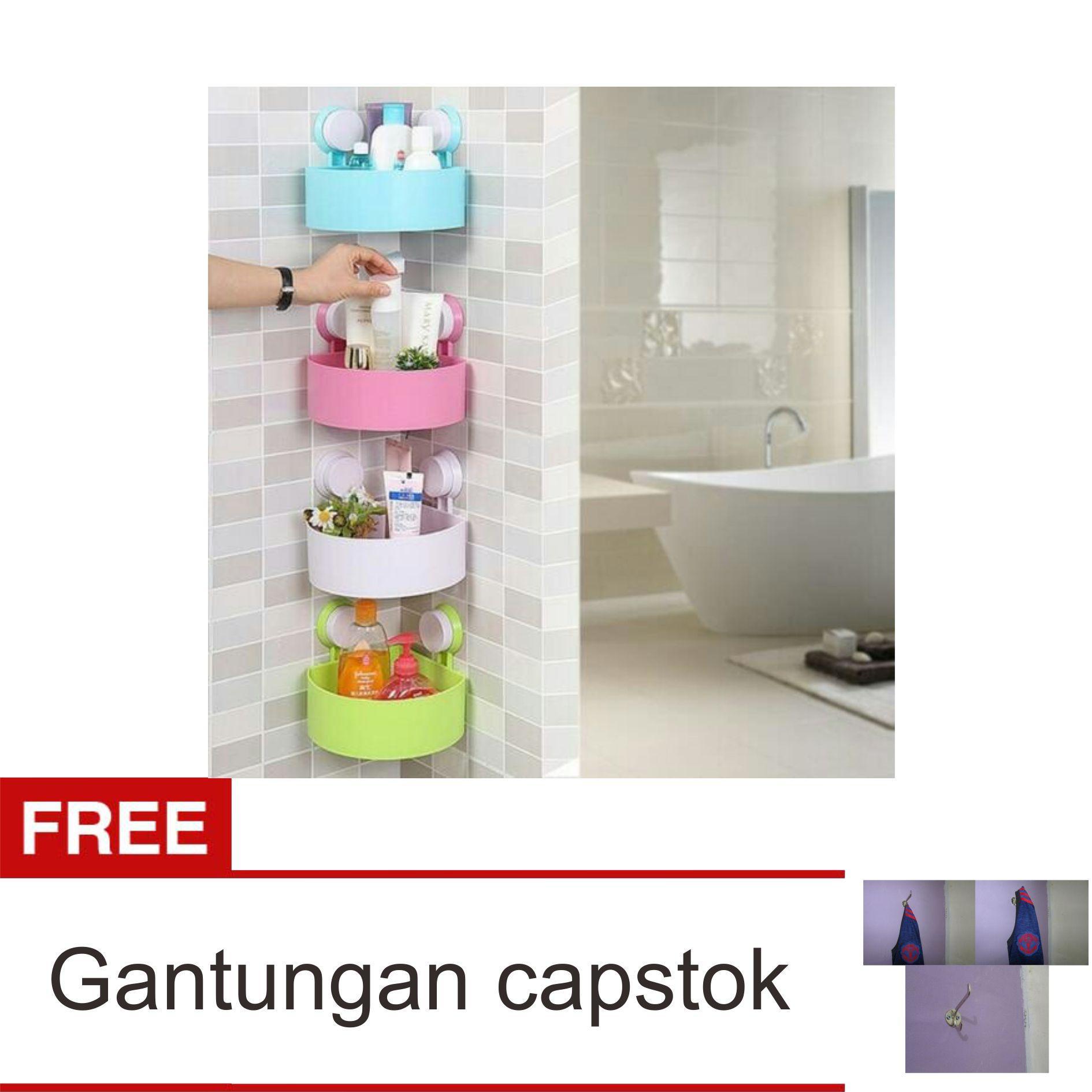 Rak Sudut kamar mandi Serbaguna Khusus Warna Random ( tak perlu paku, dan bor keramik