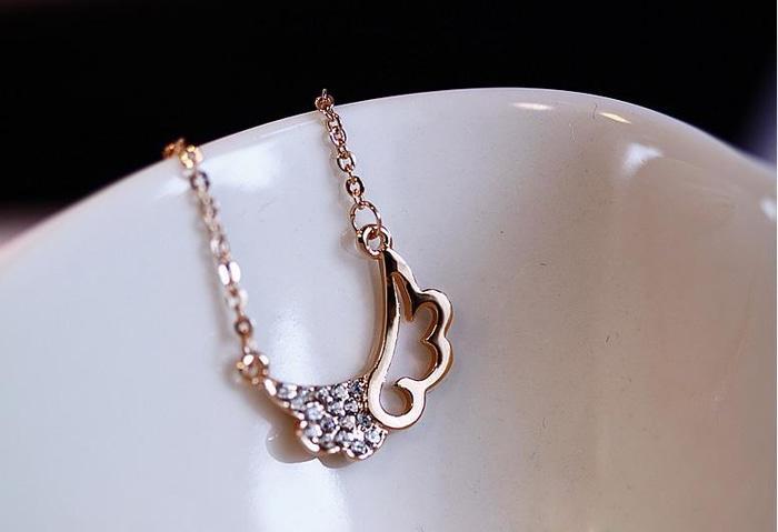 kalung emas sayap berlian diamond wings love small necklace jka074