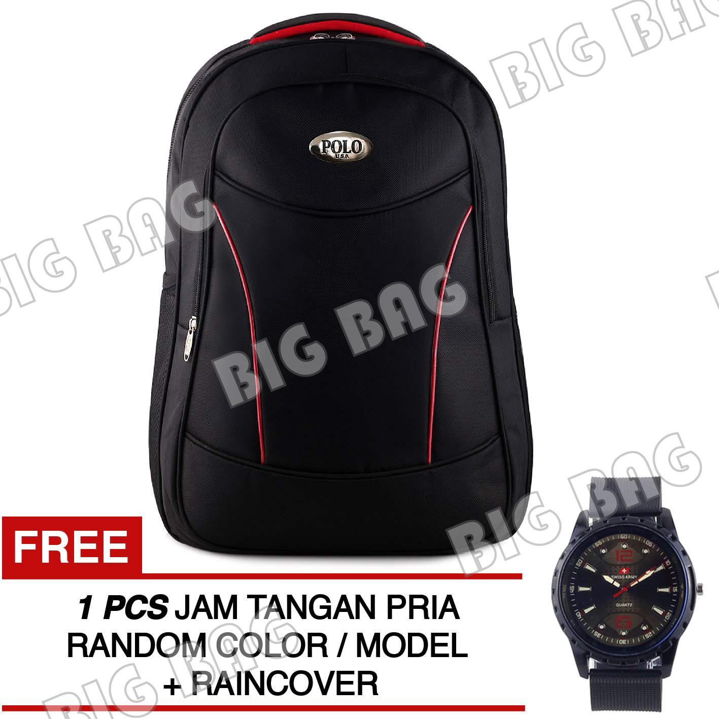 Tas Ransel Polo USA Black Vertex Tas Laptop Backpack + Raincover + FREE Jam Tangan Pria ( RANDOM MODEL ) Tas Pria Tas Kerja Tas Sekolah Tas Fashion Pria