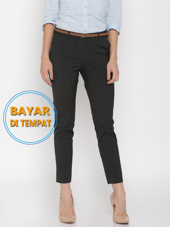 Celana Kerja Kantor Wanita Hitam Biru Navy Modern Slim Fit Ramping