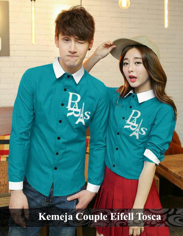 BajuCouple baju couple kemeja lengan panjang hem pasangan terbaru Kemeja Couple Eifell [Tosca]