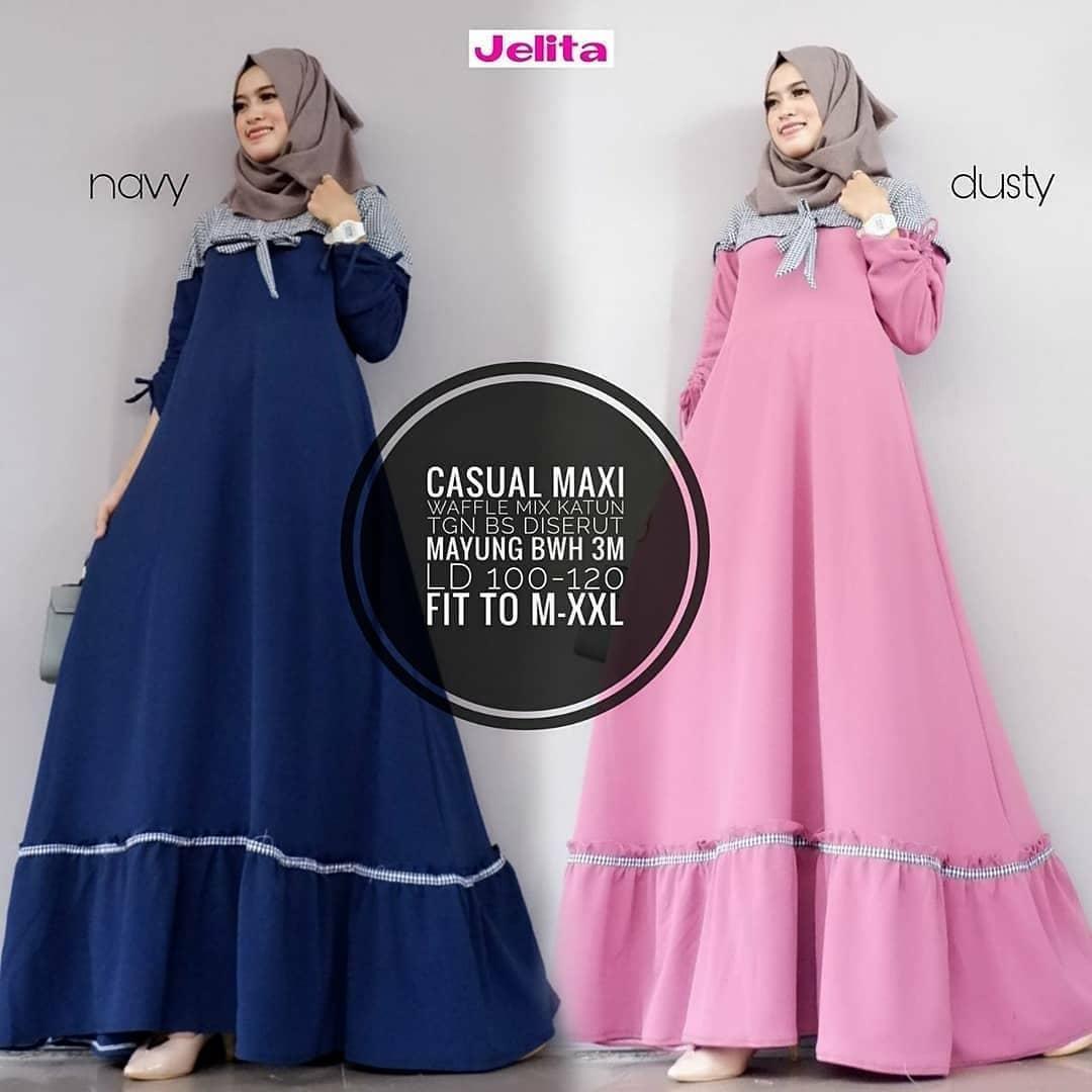 Original Gamis Casual Maxi Dress Balotelly Mix Cotton Baju Wanita Panjang Muslim Casual Wanita Pakaian Hijab Modern Baju Gaun Pesta Modis Trendy Baju Model Terbaru 2018