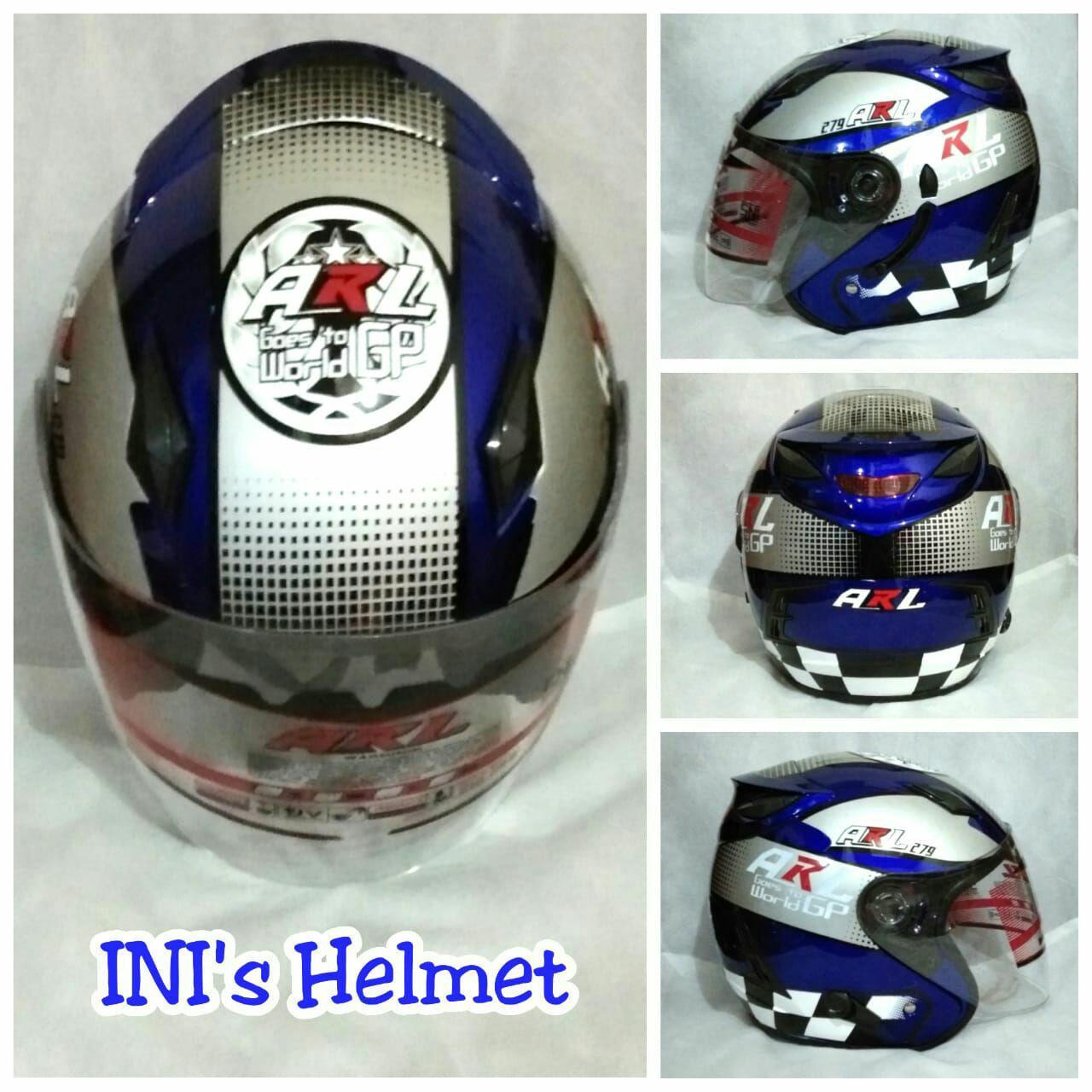 Helm basic INK Centro Metro half Face SNI double visor Motif Moto GP