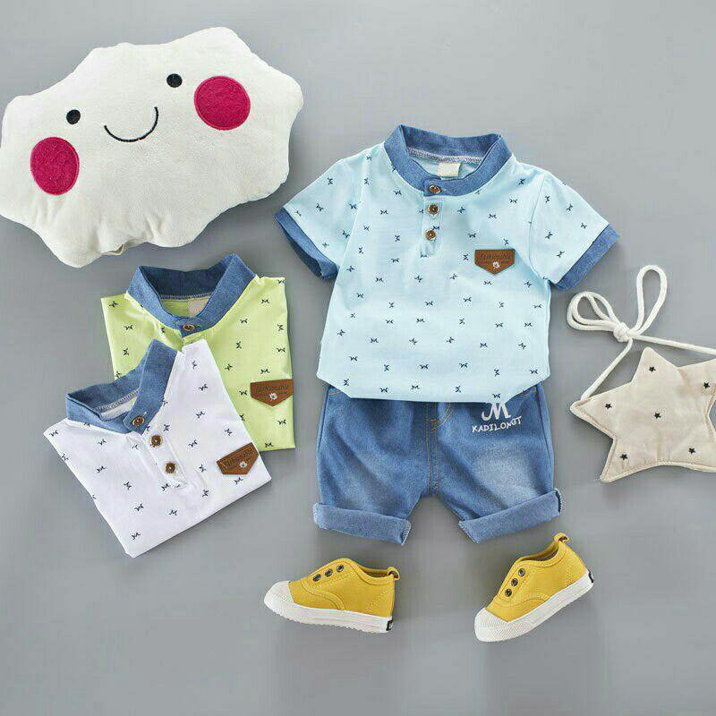Setelan baju bayi/ anak laki-laki kemeja dengan bahan katun dan celana jeans