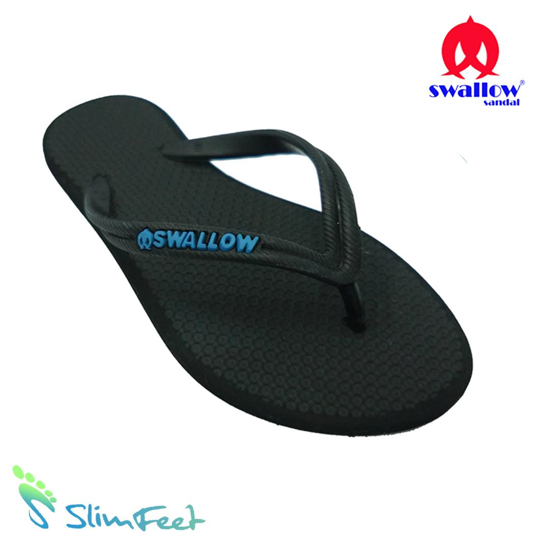 Sandal Swallow Premium SlimFeet Wanita AllBlack - Logo Biru