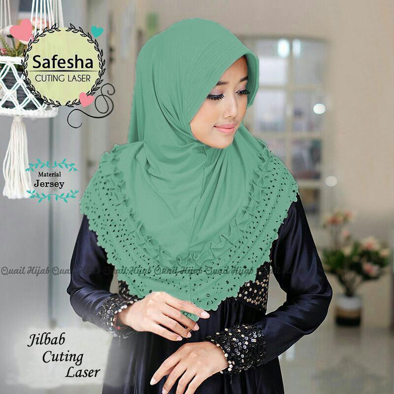 Jilbab Instan Safesa Cuting Laser Tosca / HijabTerbaru / HijabModern / Khimar Pad / HijabFashion /