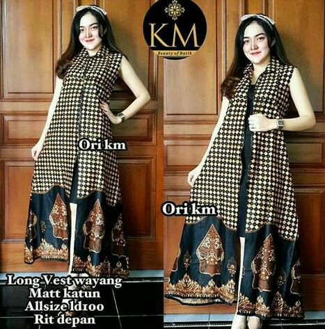 Dress Batik Solo. Long Vest Batik Wayang Sogan