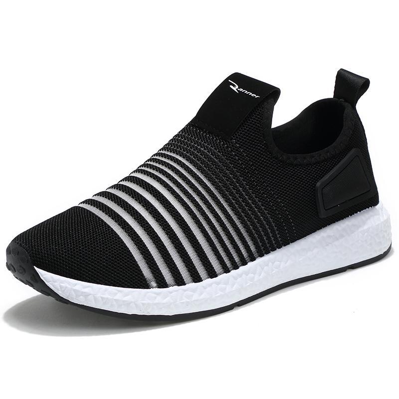 Pria Fashion Sneaker Sepatu Olahraga Kasual Ringan Bernapas Slip-on Sepatu Lari- internasional