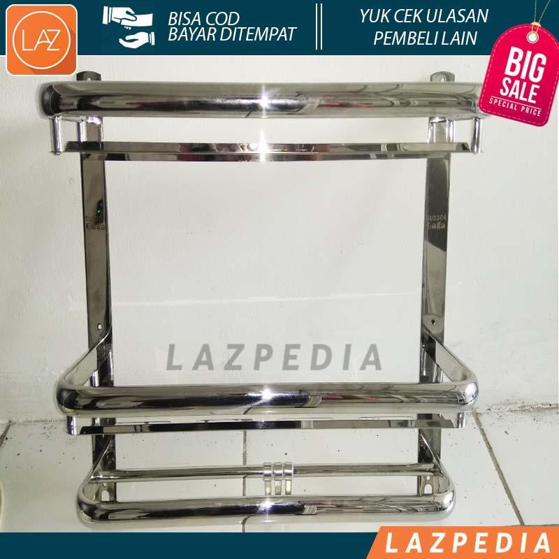 Laz COD - SUS304 Gaga Rak Dinding Kamar Mandi 3 Susun Stainless Steel Kualitas High-End , Nyaman ,