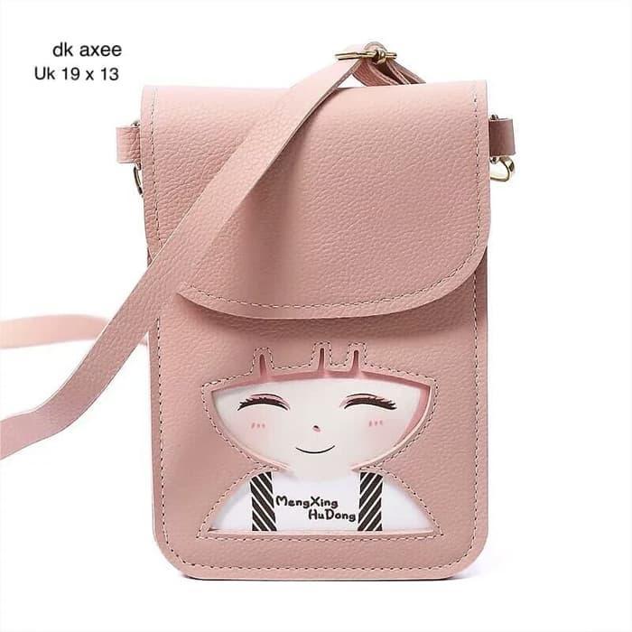 Tas slempang pocket mini anak wanita gambar kartun momo berponi