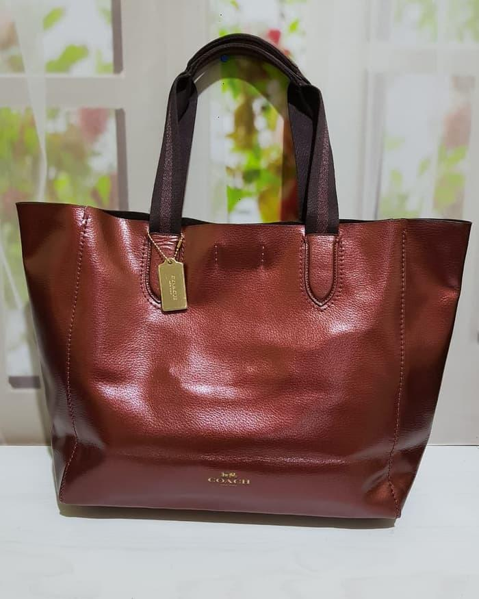 ASLI!!! TAS COACH ORIGINAL - COACH DERBY LARGE TOTE CHERRY METALLIC - BlAcaM