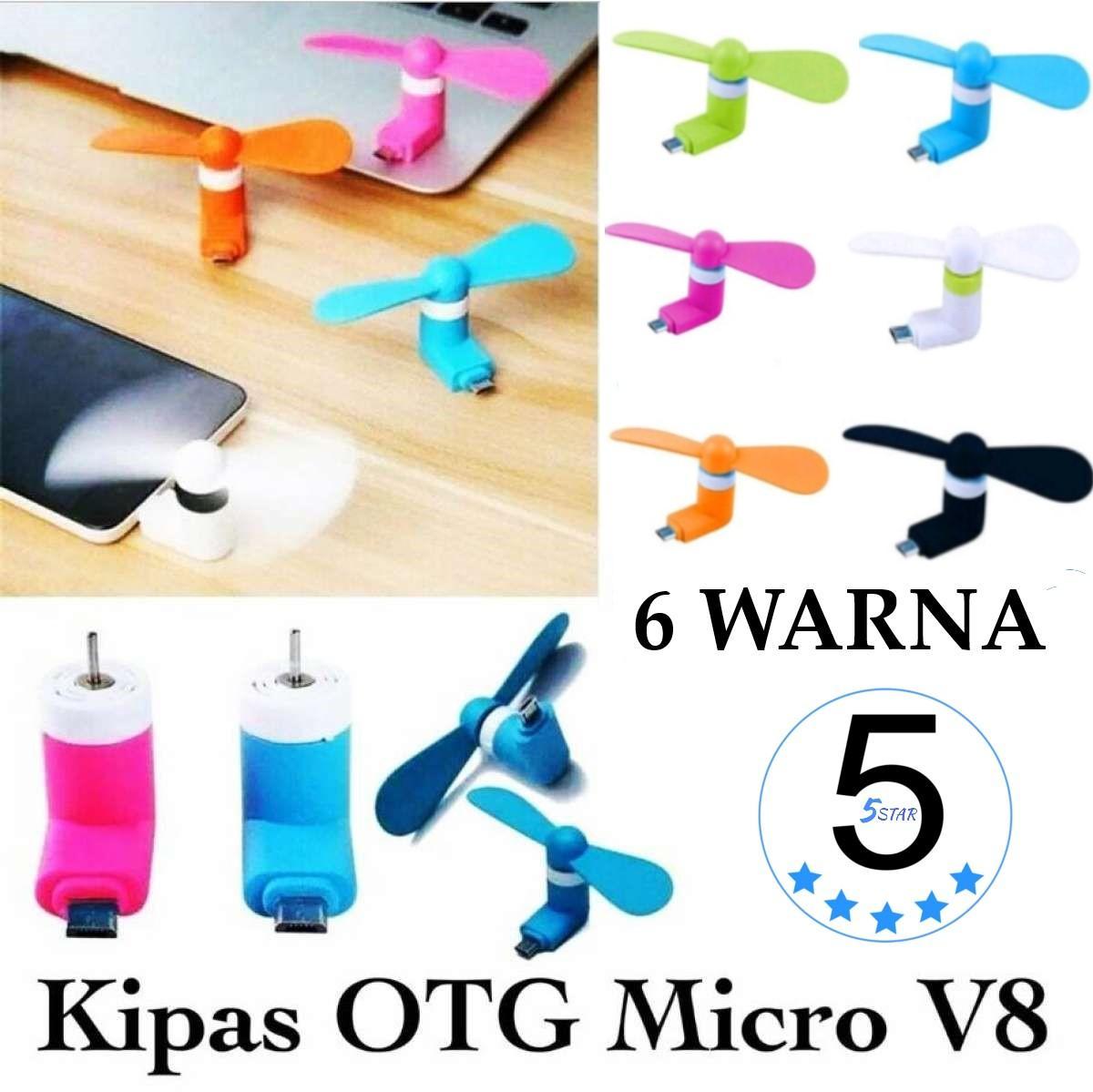 Mini Fan Micro USB OTG V8 - Kipas Angin Mini Handphone Portable - 5 STAR