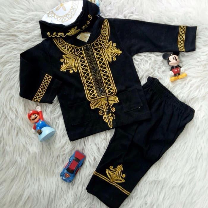 Setelan Baju Celana Muslim Bayi Anak - Setelan Koko Bayi Anak Black Panther