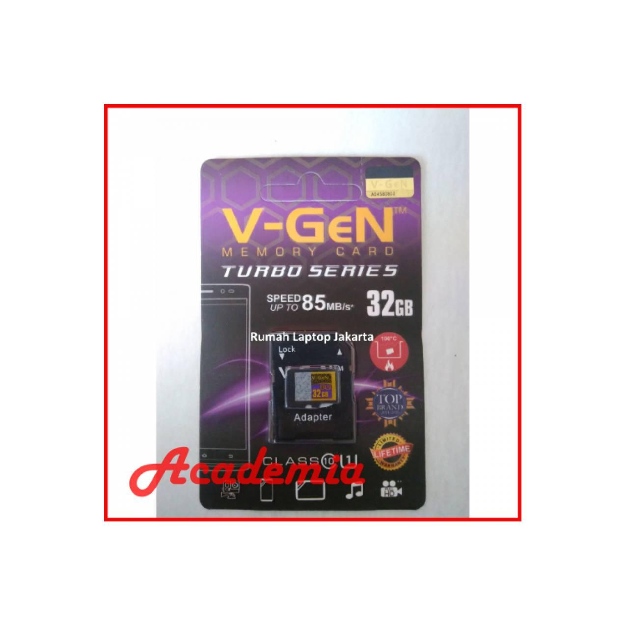 V Gen Memory Card Turbo Series 32gb Class 10 Original Spec Dan Micro Sd Hc 16gb Free Adaptor Adapter Microsd Vgen 32 Gb