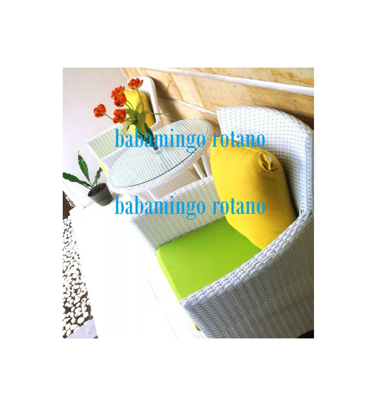 set KURSI TERRACE/CAFE ROTAN SINTETIS WHITE LIME GREEN - BOGORCIBINONG