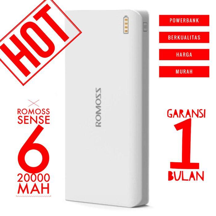 Harga Promo /power Bank / Power Bank Romoss Sense 6 Power Bank 20000 mAh (OEM) - White