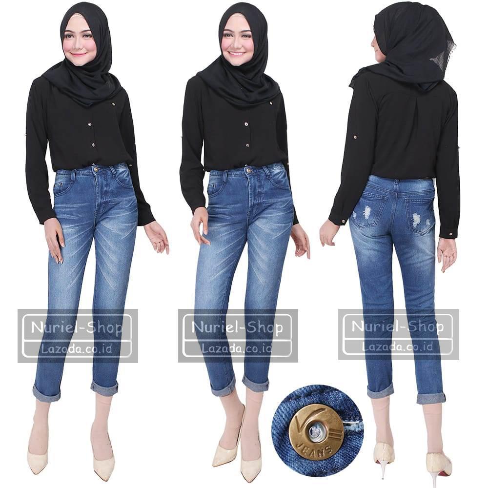NJ Nuriel Jeans – Celana Jeans Wanita– Denim Original Quality – Boyfriend Jeans – Boyfriend