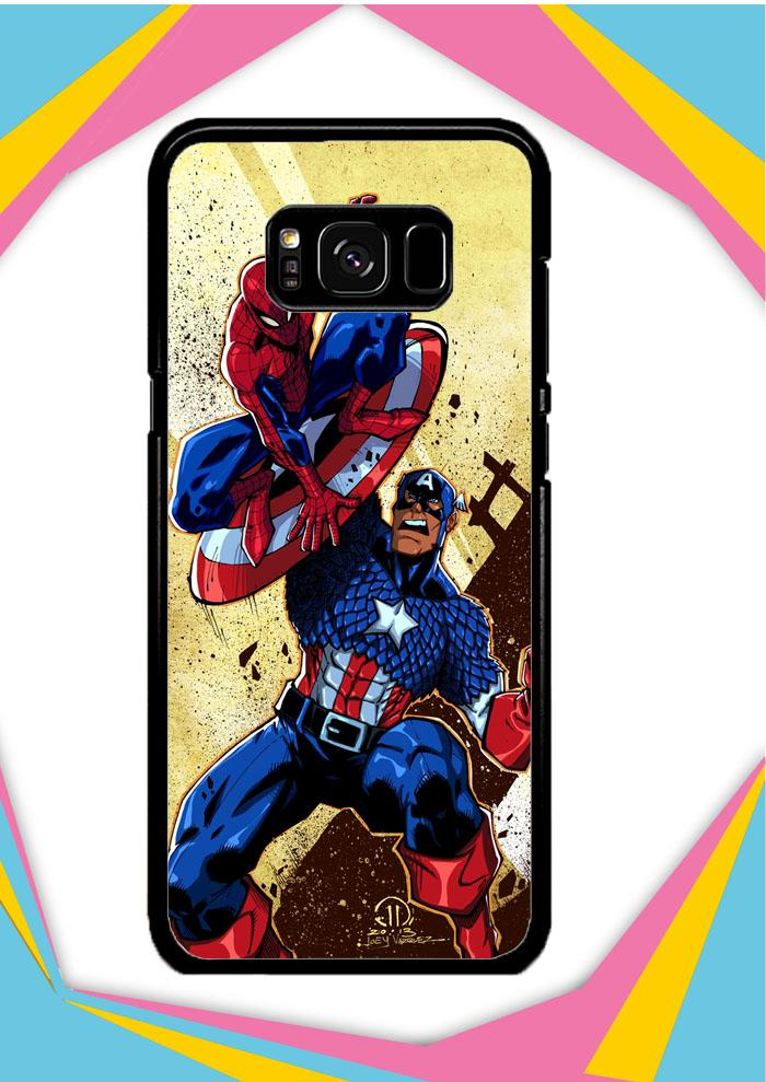 Casing Samsung Galaxy S8 Plus Custom Hardcase captain america vs spiderman Z0492 Case Cover