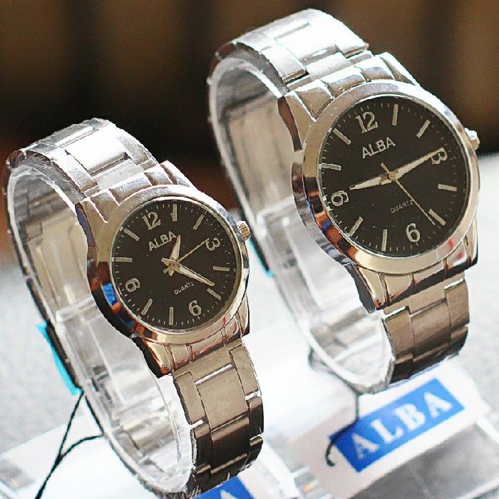 jam tangan couple rantai alba termurah / jtr 1189 hitam