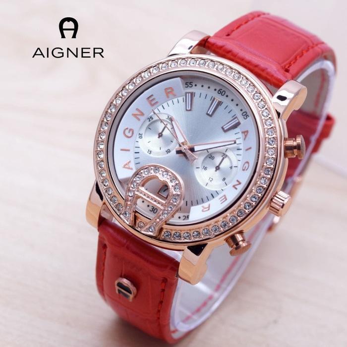 Jam Tangan Wanita / Cewek Murah Aigner Bari Diamond Leather Red| AMO Store