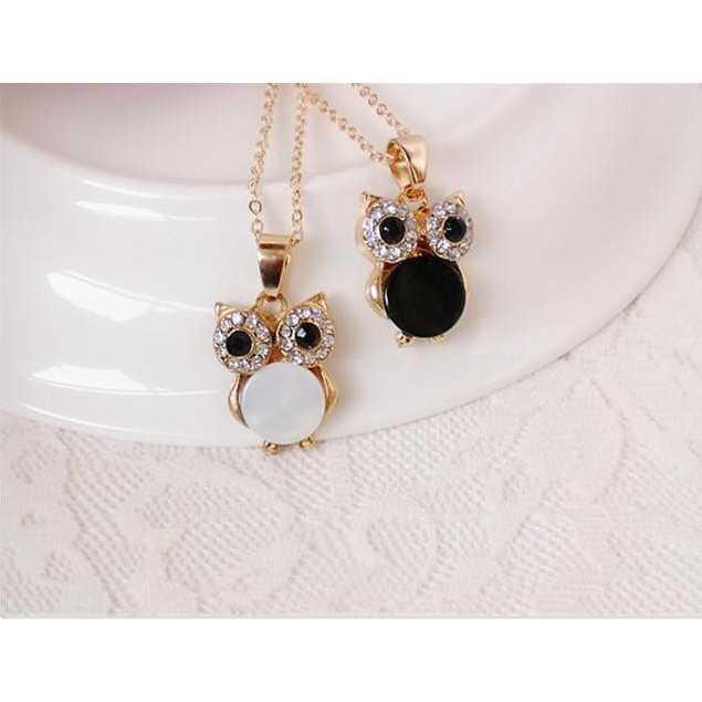 BEST SELLER kalung burung hantu / retro natural rhinestone owl necklace JKA034 TERMURAH