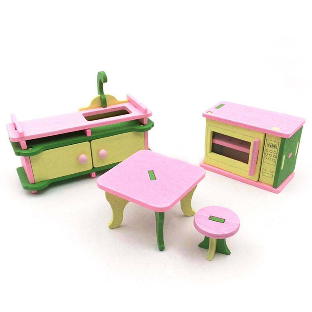 LumiParty Creative Wooden Simulation Furniture 3D Assembly Puzzle Set Building Construction Blocks Jigsaw Puzzle Toys Style:Kitchen