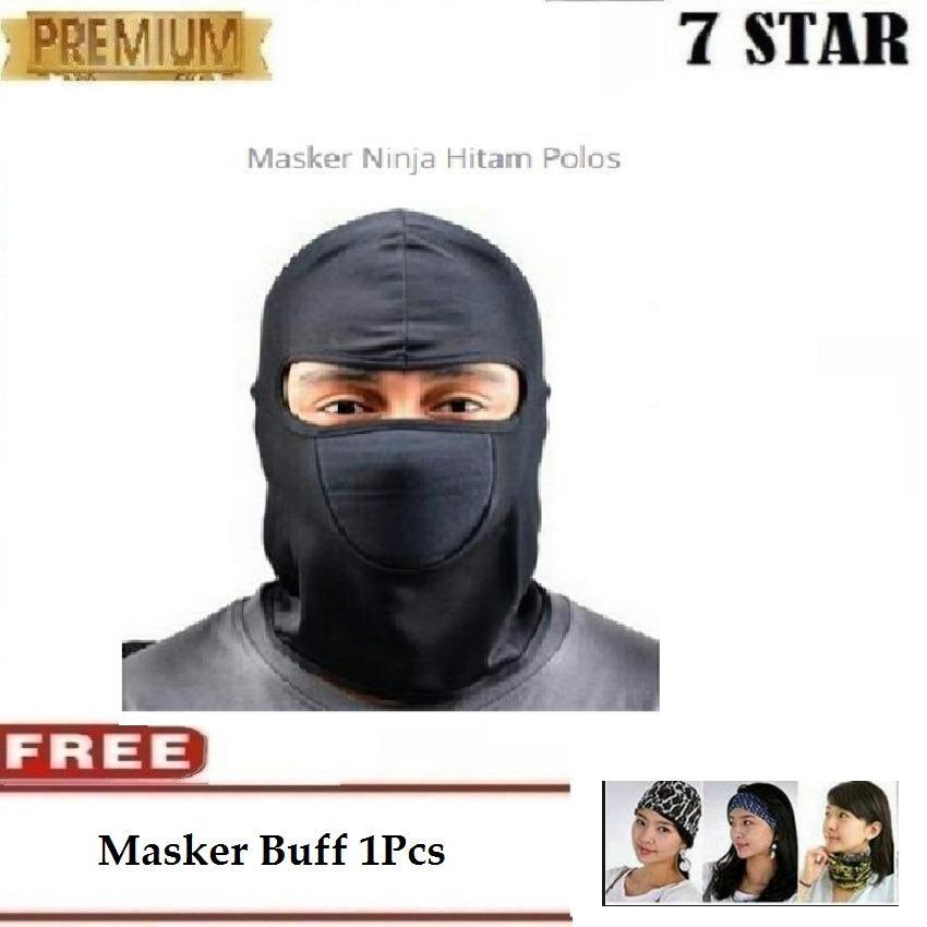 Masker Pelindung Wajah Dari Debu 7STAR - Masker Motor Full Face Ninja Polos Hitam - Gratis Masker B