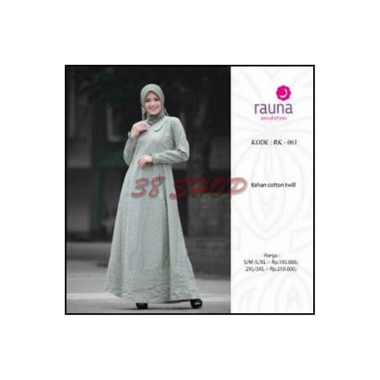 Hot Promo Gamis katun rauna rk 063/ gamis polkadot/ baju muslim terbar
