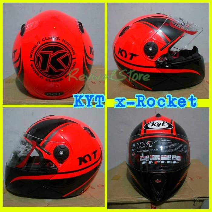 Helm KYT X-Rocket retro Red flou black / helm murah / helm full face