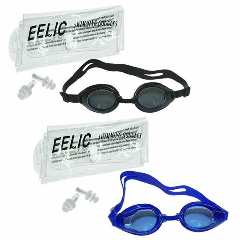 EELIC KAR-816B 2 PCS HITAM-BIRU Kacamata Renang Anti Radiasi Dengan Tutup Telinga 2 Warna ( Hitam + Biru )