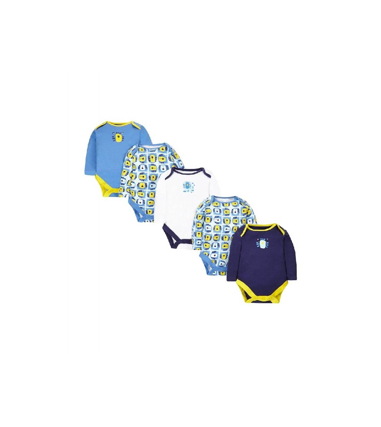 Mothercare Longsleeves Bodysuits 5 pack - 18-24 Bulan, Hitam