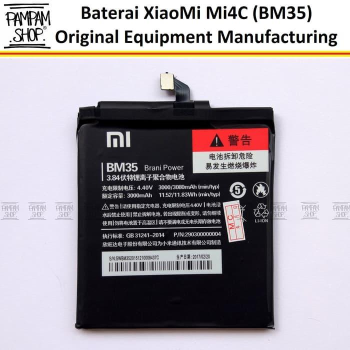 Baterai Handphone XiaoMi Mi4C Mi 4C BM35 Original OEM Battery Batrai Batre BM 35 Xiao Mi HP Ori