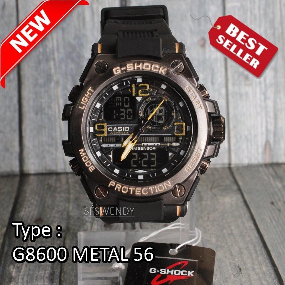JAM TANGAN PRIA G SPORTY FASHION GST 8600 METAL RANTAI MIKA ANTI AIR HITAM  GOLD 6052c0a601