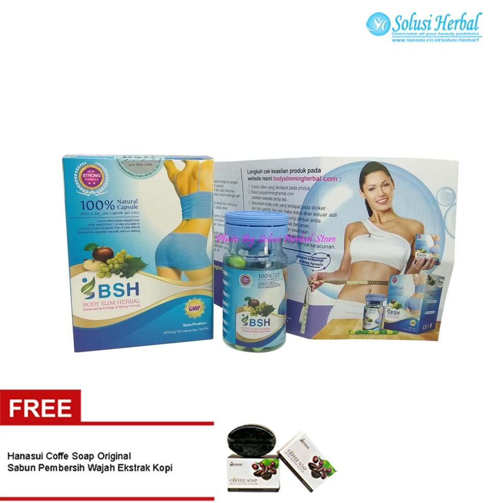BSH Body Slim Herbal Kapsul Original Import - BSH Kapsul Pelangsing Tubuh - Free Hanasui Coffee