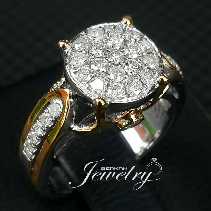 Cincin Emas 75 %anita Berlian Eropa Natural Diamond White Gold Nikah