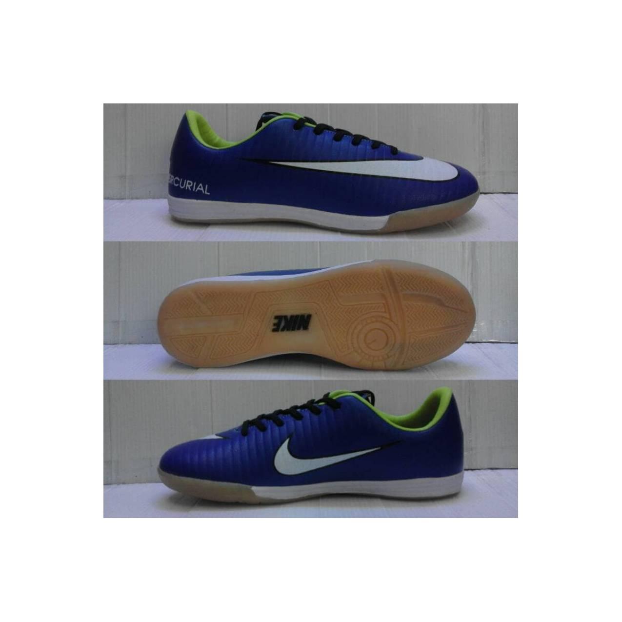 sepatu futsal nike mercurial VI biru list putih sol karet