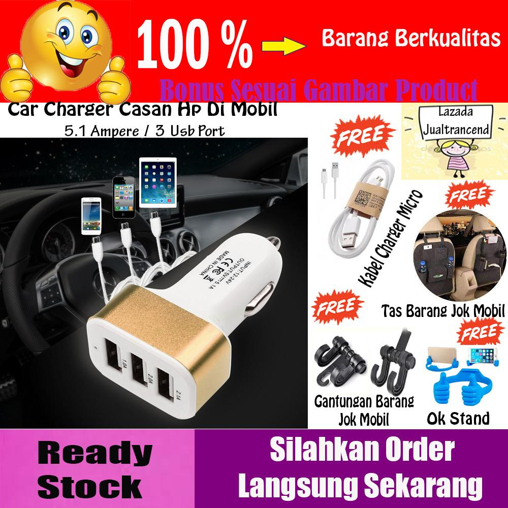Car Charger 5.1A 3 Port Charger Casan Hp di Mobil - GRATIS Tas Rak Jok Gantung Mobil / Sestar + Gantungan Barang Jok Mobil + Kabel Charger Micro + Ok Stand Hp
