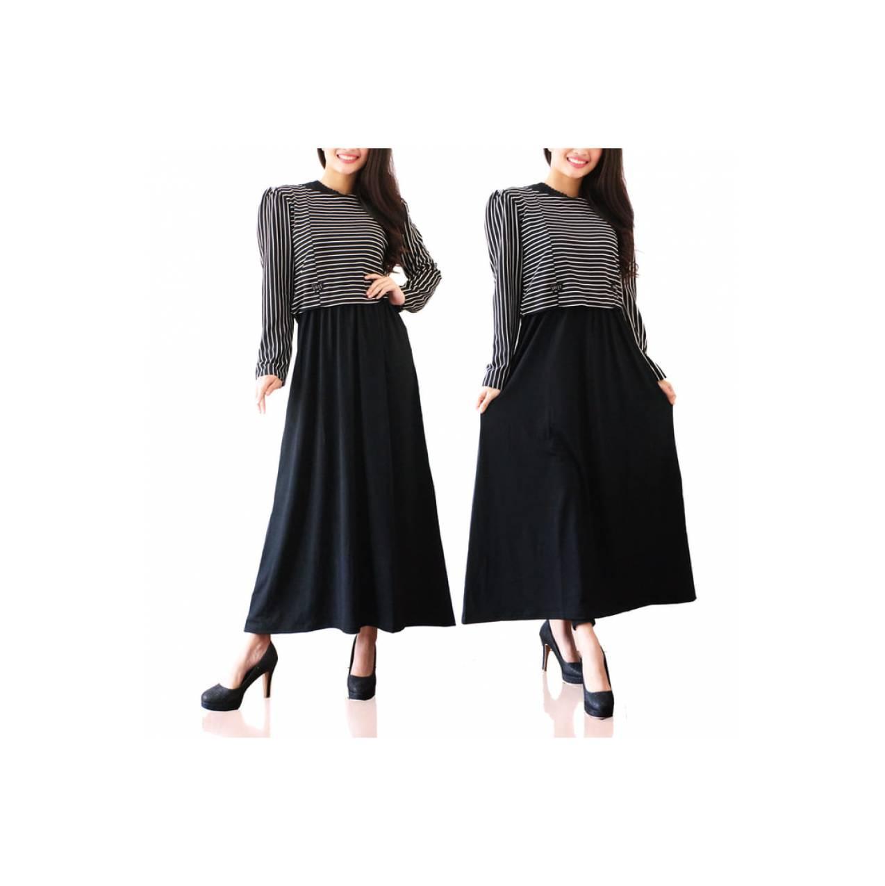 Gamis Maxi Zaskia / Baju / Dress / Busana Muslim / Strip Hitam / Abaya