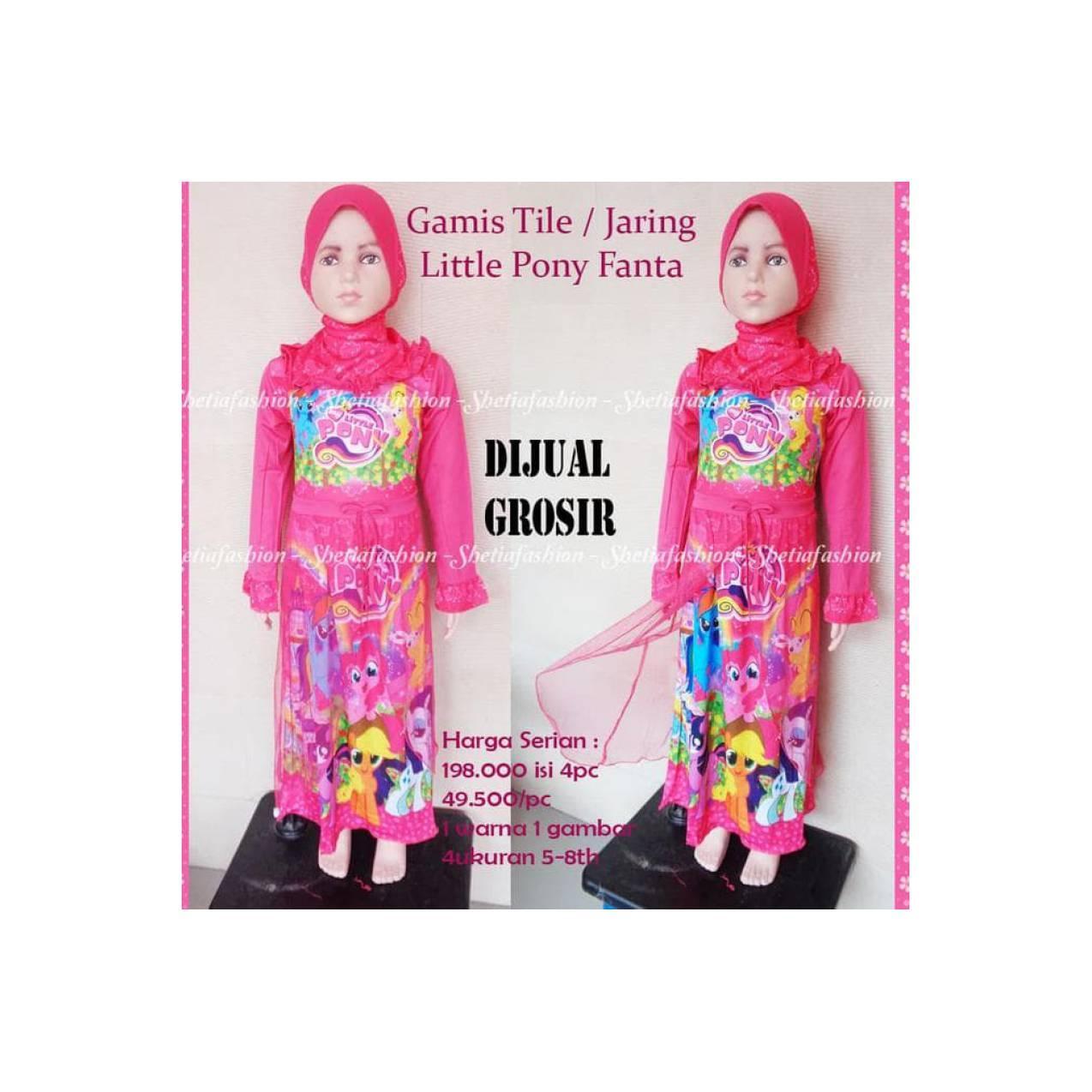 Diskon Little Pony Lp Gamis Karakter Anak Baju Muslim : Pony Hijau +