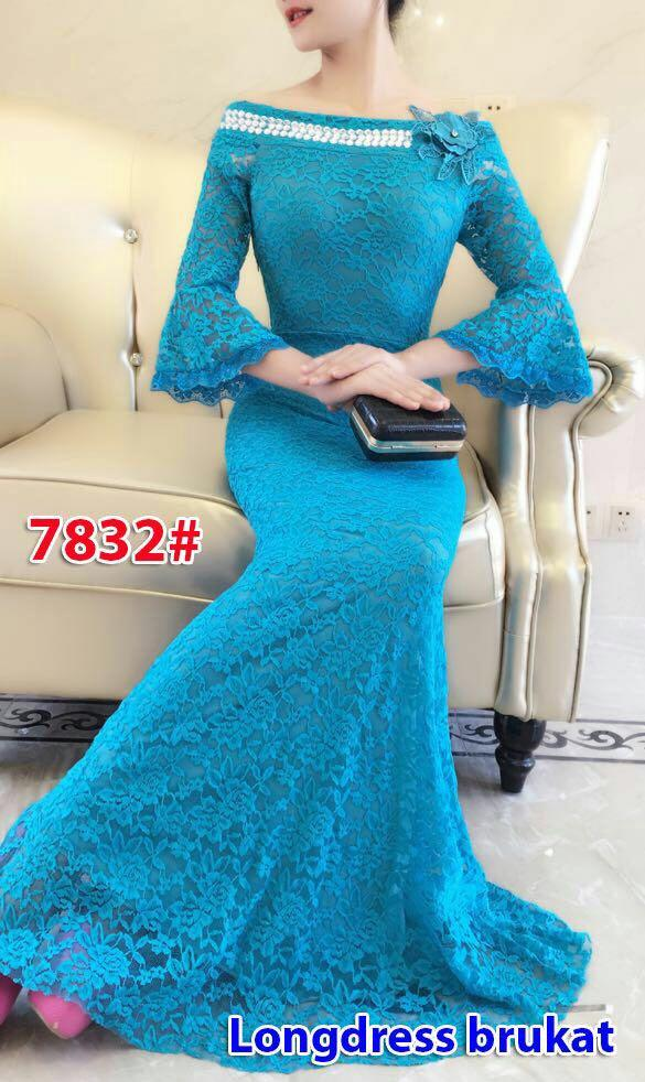 7832# baju pesta import  / gaun pesta import / baju pesta brokat / longdress fashion import