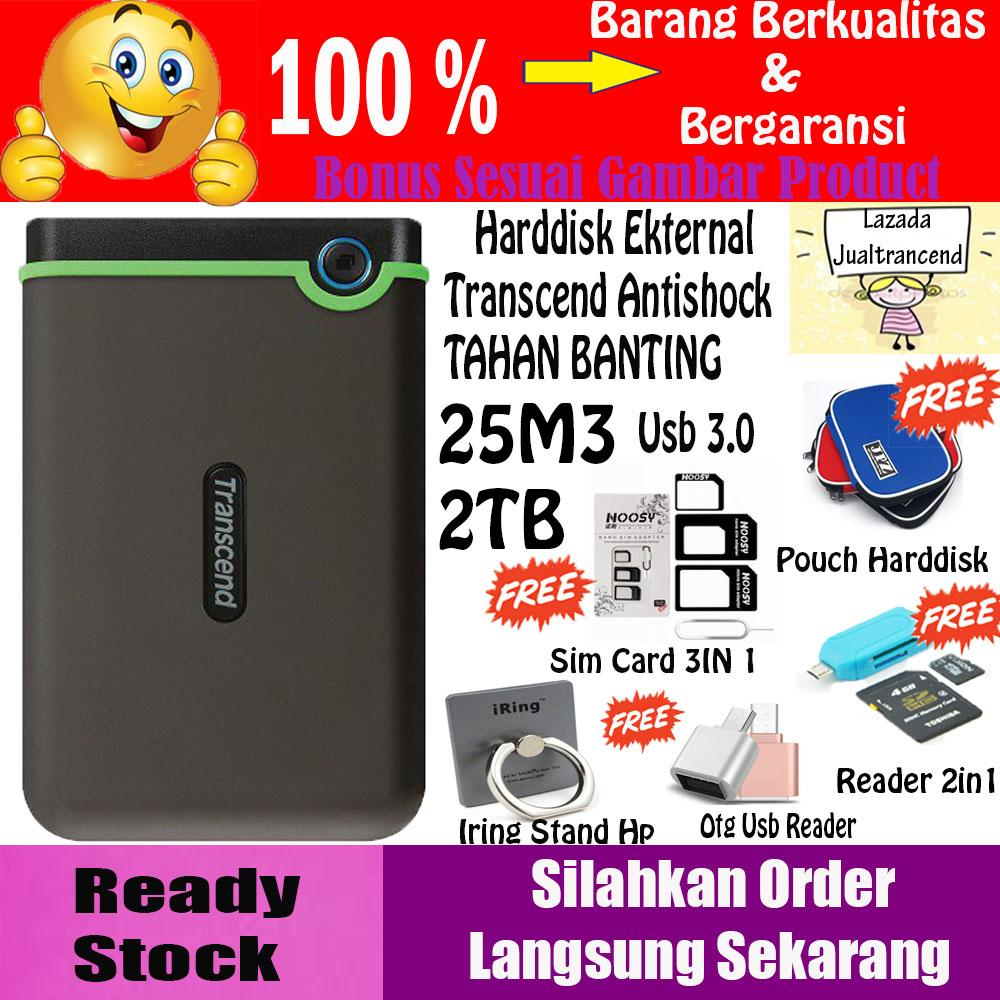 Transcend StoreJet 25M3 2TB - HDD / HD / Hardisk External Antishock - Hitam - GRATIS Otg Usb Reader + Sim Card 3IN 1 + Iring Stand Hp + Reader 2IN 1 + Pouch HDD